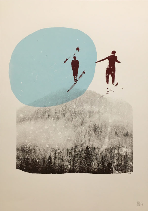 seirgraphie ski bleu