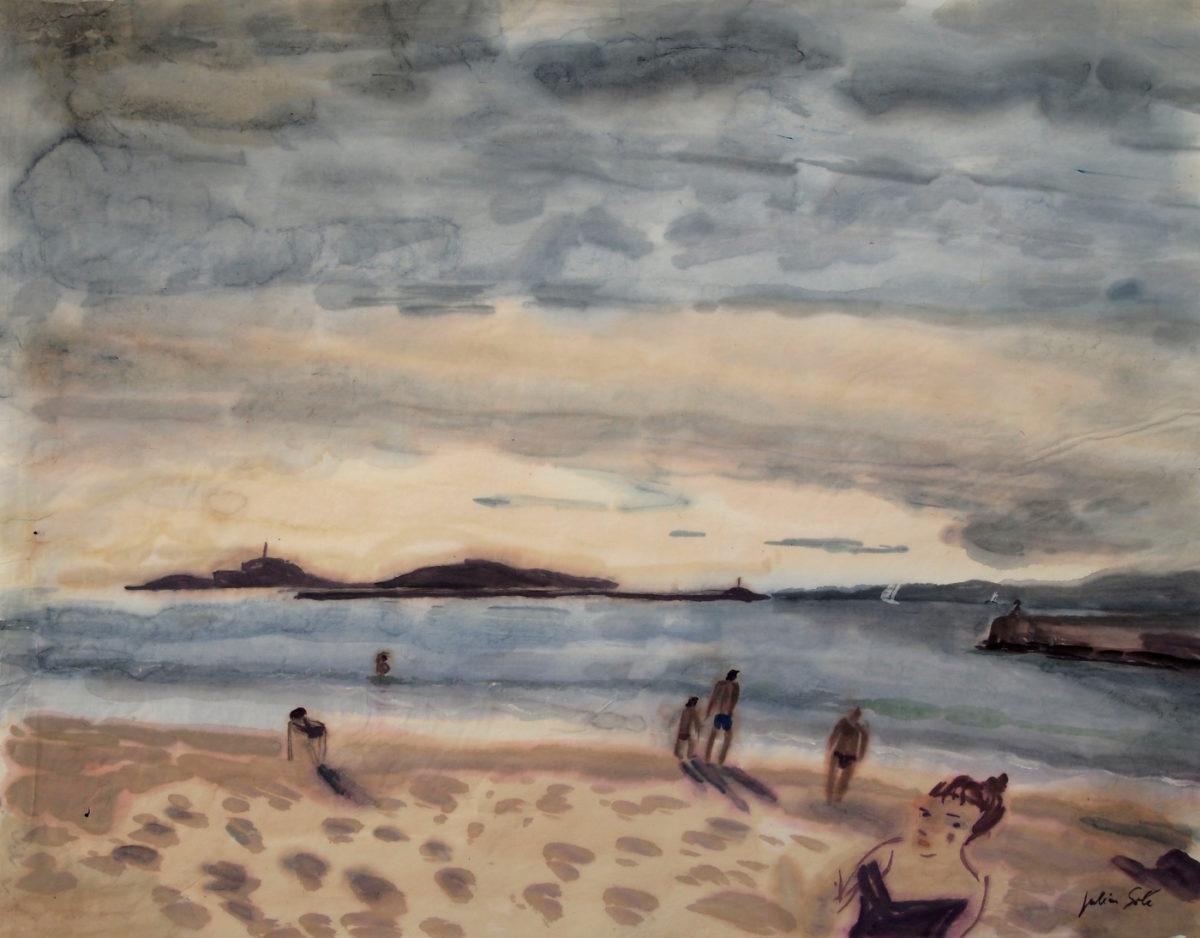 plage des catalans aquarelle
