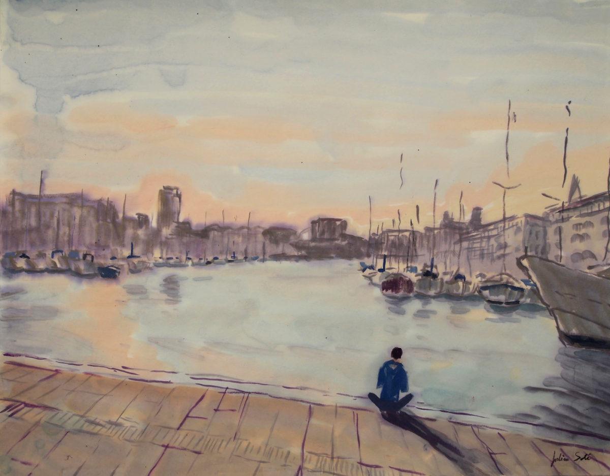 aquarelle vieux port marseille