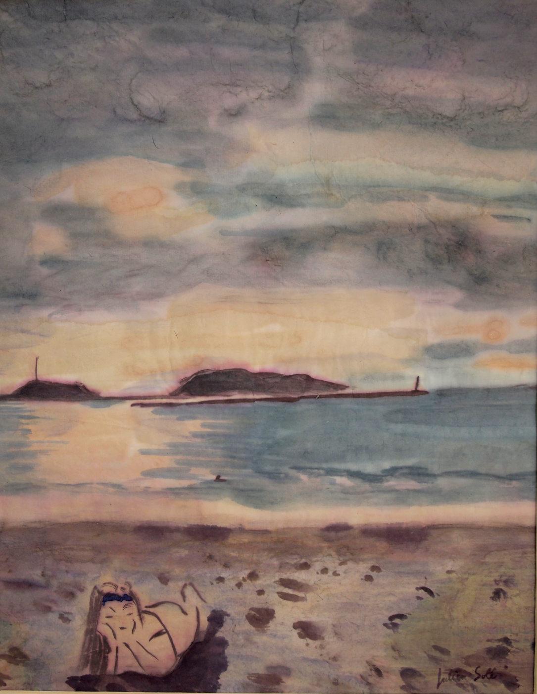 aquarelle plage frioul marseille