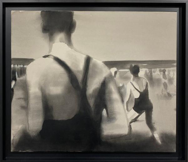 peinture plage mer vintage
