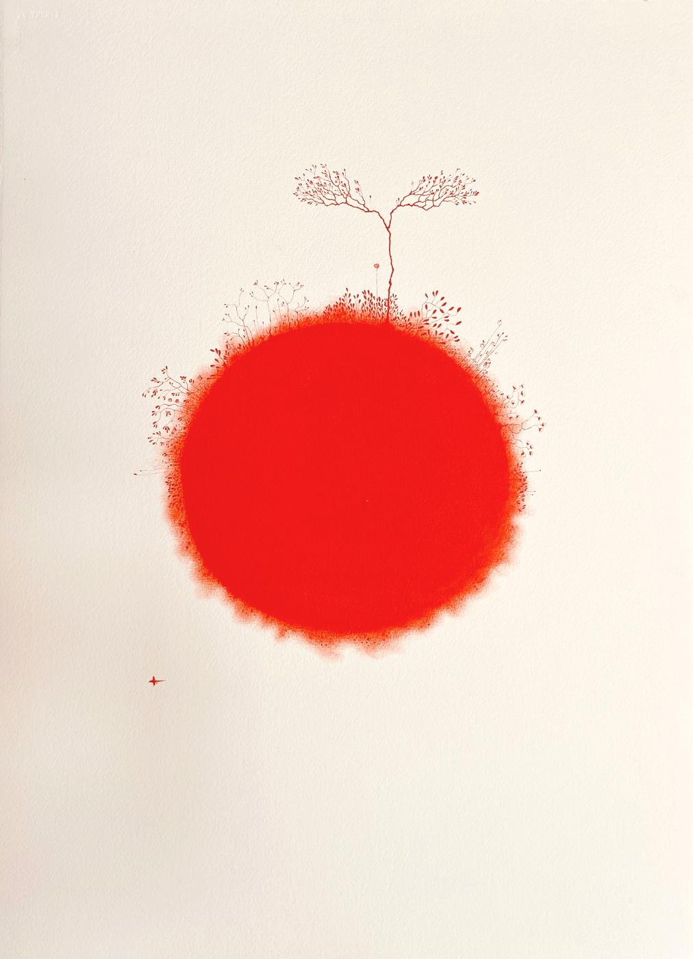 art monochrome rouge