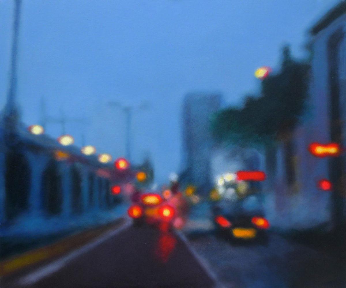 peinture bleue nuit feux