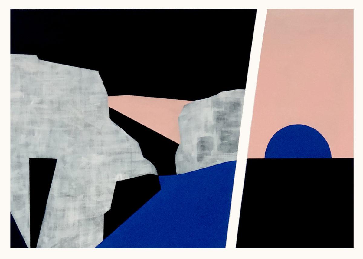 peinture art bleu rose noir