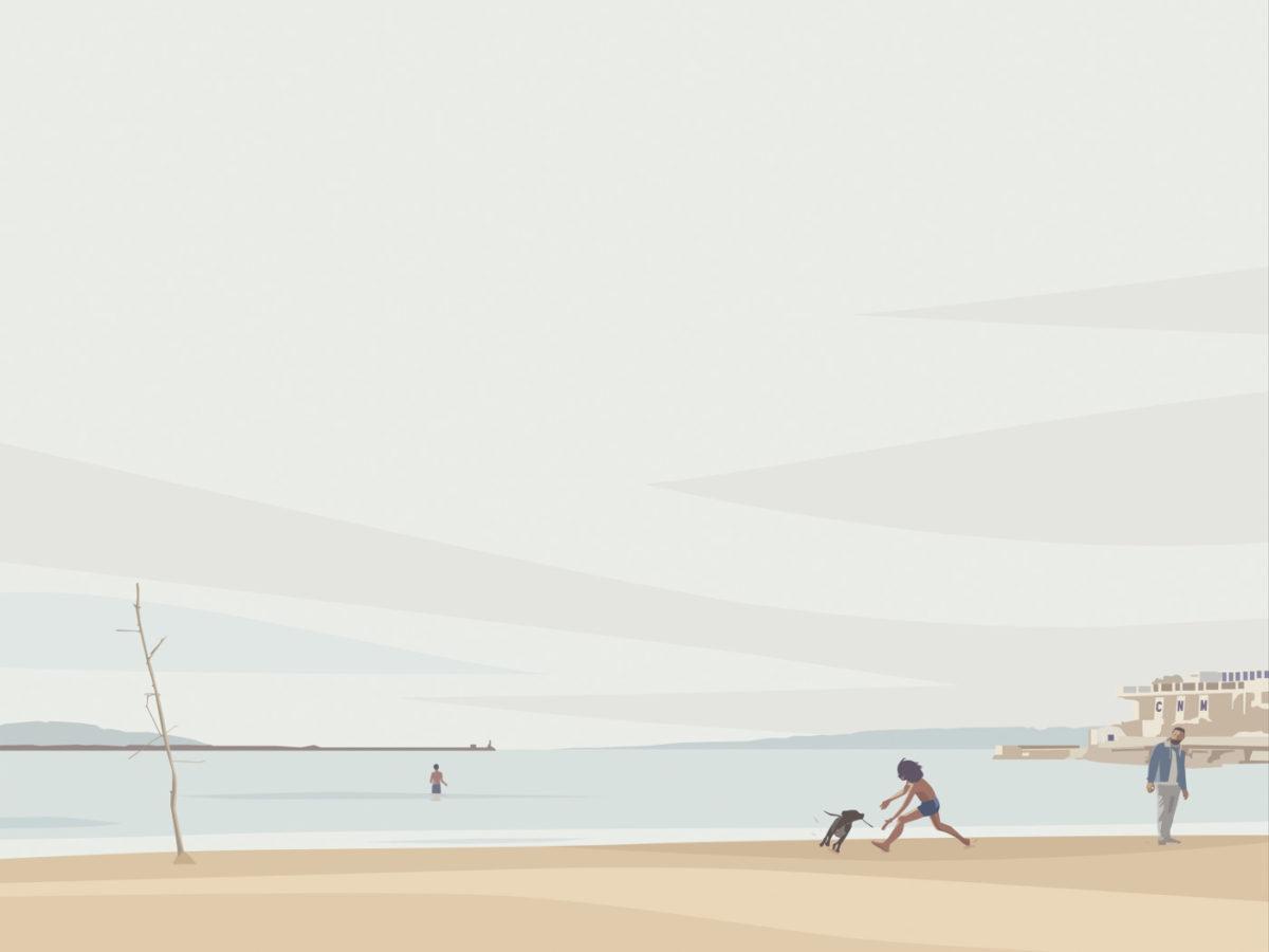 art plage mer enfant